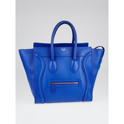 Celine Cobalt Smooth Calfskin Leather Mini Luggage Tote Bag