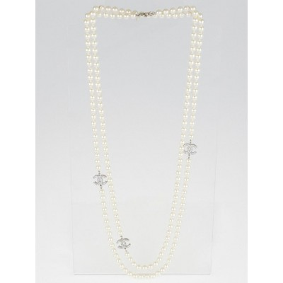 Chanel Glass Pearl Triple CC Logo Long Necklace