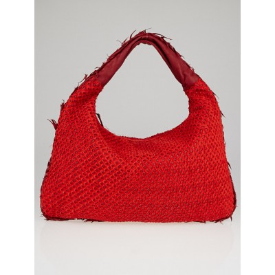 Bottega Veneta Red Nappa Leather and Silk Mini Ponza Quilted Large Hobo Bag
