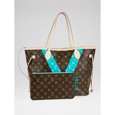 Louis Vuitton Limited Edition Turquoise Monogram V Neverfull MM Bag
