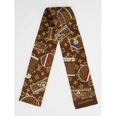 Louis Vuitton Monogram Trunks Silk Bandeau Scarf