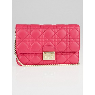 Christian Dior Fuchsia Cannage Quilted Lambskin Leather Miss Dior Pouch Bag