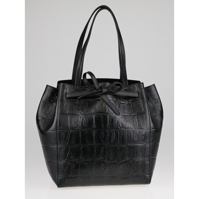 Celine Black Croc Embossed Leather Cabas Phantom Tie Small Tote Bag
