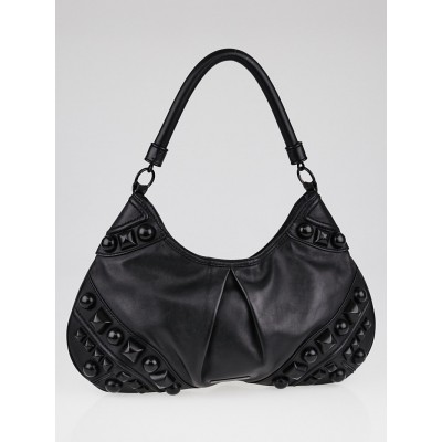 Burberry Black Leather Alverton Studded Hobo Bag