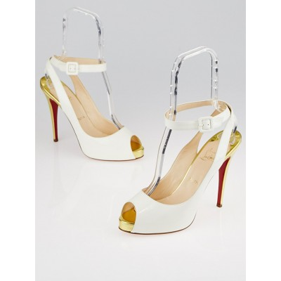Christian Louboutin White Patent Leather Ankle Strap Peep Toe Pumps Size 11.5/42