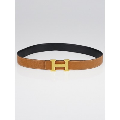Hermes 32mm Marron d'Inde Clemence Leather Brushed Gold Plated Constance H Belt Size 85