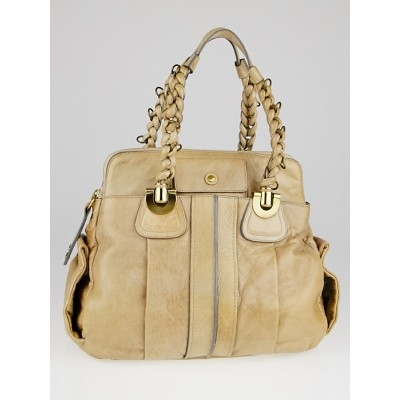 Chloe Beige Calfskin Leather Heloise Large Satchel Ba