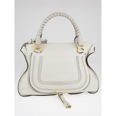Chloe Dove Pebbled Leather Large Marcie Satchel Bag