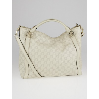 Gucci Mystic White Guccissima Leather Miss GG Top Handle Bag