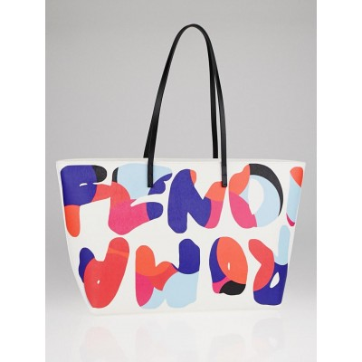 Fendi Multicolore Print Vitello Elite Leather Roll Tote Bag 8BH185