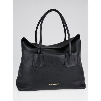 Burberry Black Grained Leather Baynard Tote Bag