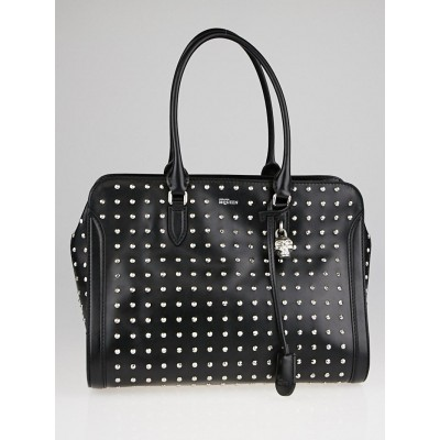 Alexander McQueen Black Studded Leather Medium Skull Padlock Zip Tote Bag
