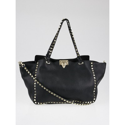 Valentino Black Pebbled Leather Rockstud Medium Tote Bag