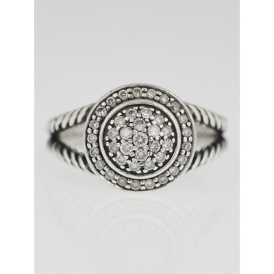 David Yurman 8mm Pave Diamond Albion Ring Size 8.5
