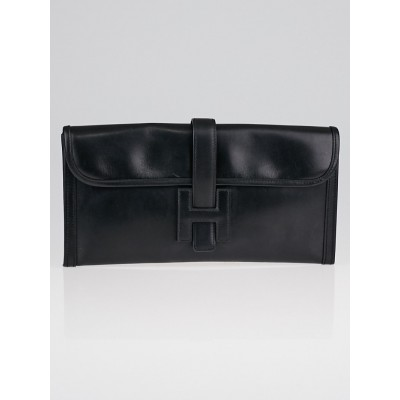 Hermes Black Box Leather Jige Elan Clutch Bag