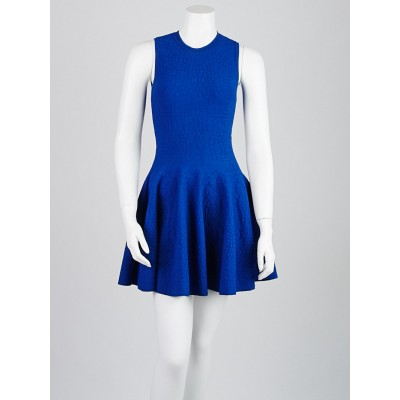 Alexander McQueen Blue Croc Embossed Viscose Blend Dress Size XXS