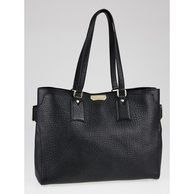 Burberry Black Signature Grain Leather Large Tote Bag