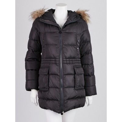 Moncler Black Quilted Nylon and Raccoon Fur Trim Down Coat Size 0/XS