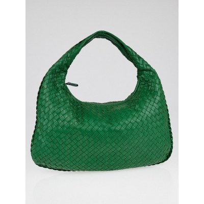 Bottega Veneta Irish Green Intrecciato Woven Nappa Leather Medium Veneta Hobo Bag