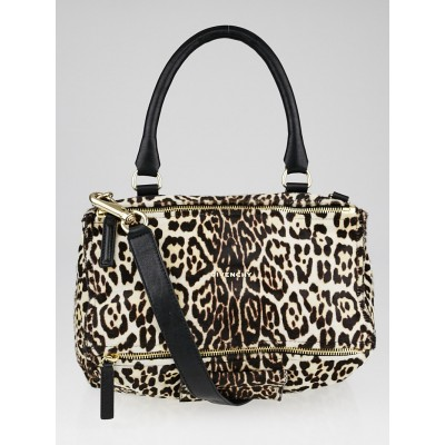Givenchy Leopard Print Calf Leather Small Pandora Bag