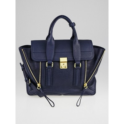 3.1 Phillip Lim Blue Leather Pashli Medium Satchel Bag
