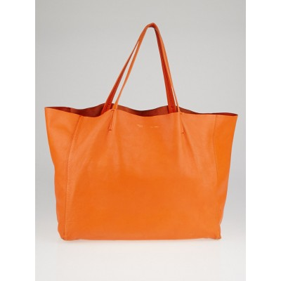 Celine Orange Lambskin Leather Horizontal Cabas Tote Bag