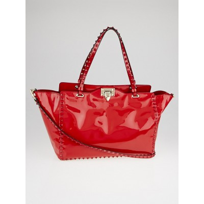 Valentino Red Patent Leather Rockstud Medium Trapeze Tote Bag
