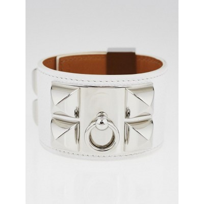 Hermes White Epsom Leather Palladium Plated Collier de Chien Bracelet Size S