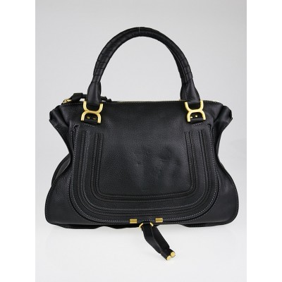 Chloe Black Calfskin Leather Large Marcie Satchel Bag