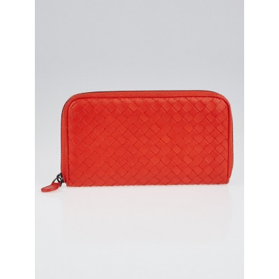 Bottega Veneta Cardinal Intrecciato Woven Nappa Leather Zip Around Wallet