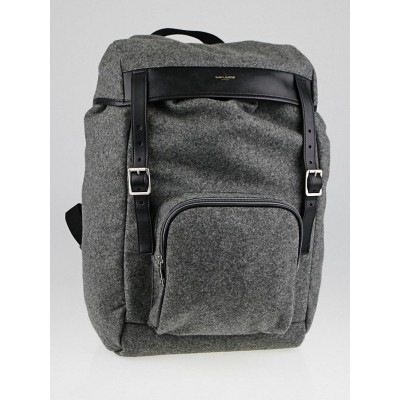 Yves Saint Laurent Grey Flannel Hunting Backpack Bag