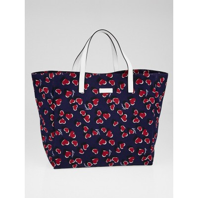 Gucci Purple Heartbeat Print Canvas Tote Bag