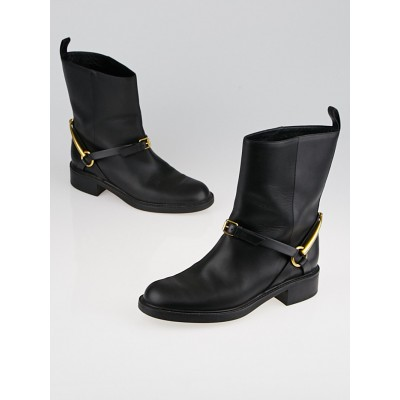 Gucci Black Leather Horsebit Tess Ankle Boots Size 7/37.5