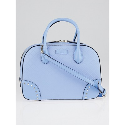Gucci Light Blue Bright Diamante Textured Leather Top Handle Bag