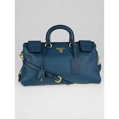 Prada Denim Blue Cervo Leather Top Handle Satchel Bag BN2059