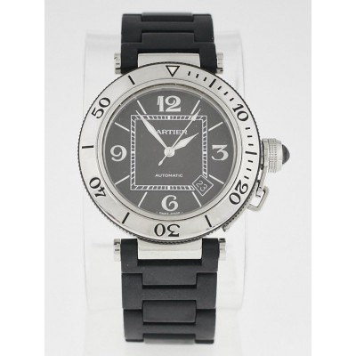 Cartier 40.5mm Stainless Steel and Black Rubber Pasha Seatimer Automatic Watch W31077U2