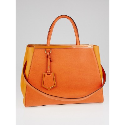 Fendi Orange Vitello Leather Medium 2Jours Elite Tote Bag 8BH250