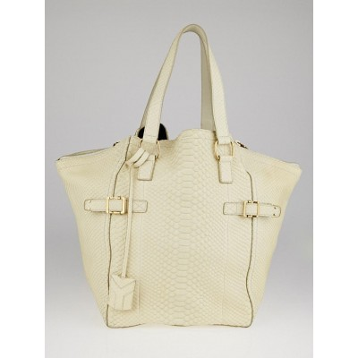 Yves Saint Laurent Ivory Python Large Downtown Bag