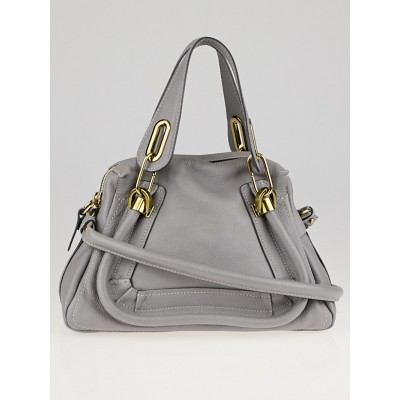 Chloe Cashmere Grey Pebbled Leather Small Paraty Bag