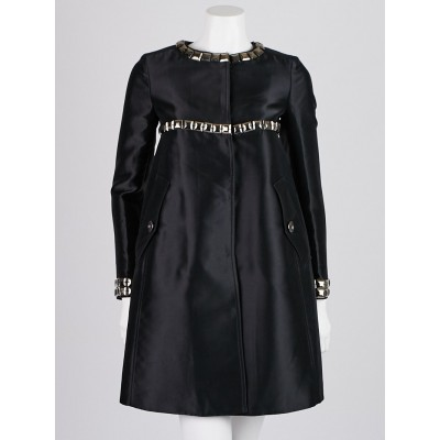 Burberry London Black Silk Blend Studded A-Line Coat Size 2