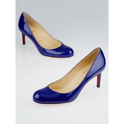 Christian Louboutin Blue Patent Leather Simple 70 Pumps Size 7.5/38
