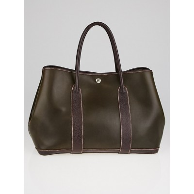 Hermes Amazonia Brown Buffalo Leather Garden Party MM Tote Bag