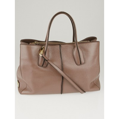 Tod's Crete Embossed Leather D-Styling Lavoro Medium Shopping Tote Bag