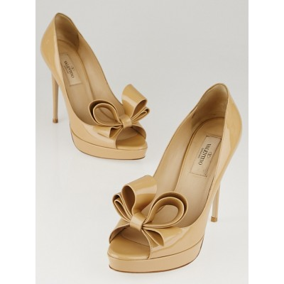 Valentino Beige Patent Leather Bow Peep Toe Pumps Size 6/36.5