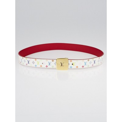 Louis Vuitton 30mm White Monogram Multicolore LV Cut Reversible Belt Size 90/36