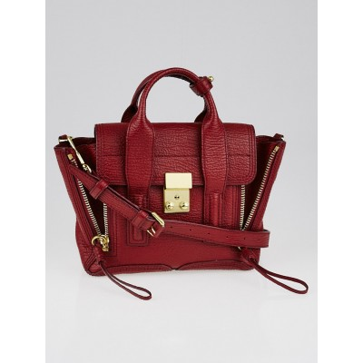 3.1 Phillip Lim Crimson Shark Embossed Leather Mini Pashli Satchel Bag