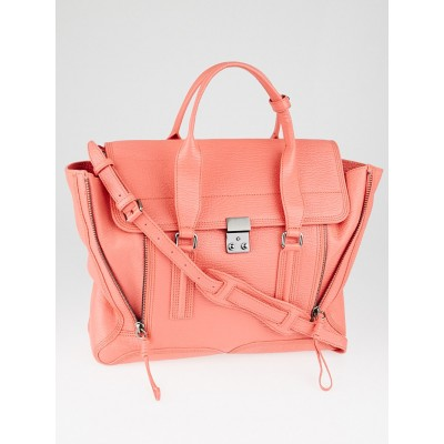 3.1 Phillip Lim Coral Shark Embossed Leather Large Pashli Satchel Bag