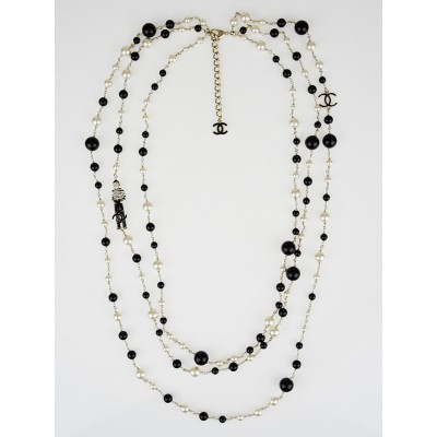 Chanel Glass Pearl and Beaded CC Three Strand Long Necklace