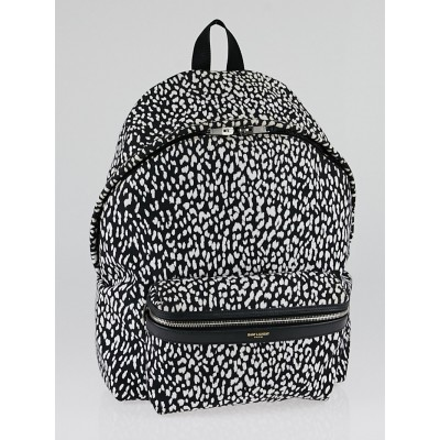Yves Saint Laurent Black and White Printed Canvas Hunter Backpack