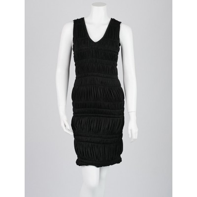 Burberry Black Viscose Pleated Sleeveless Dress Size 38